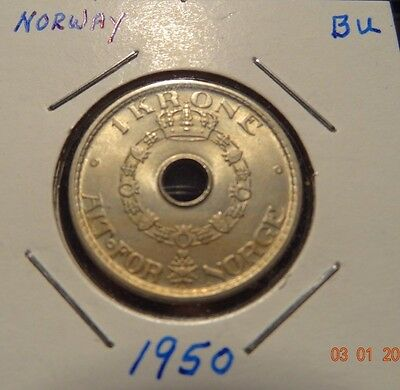 1950 Norway One Krone - Norwegian Coins - Alt For Norge
