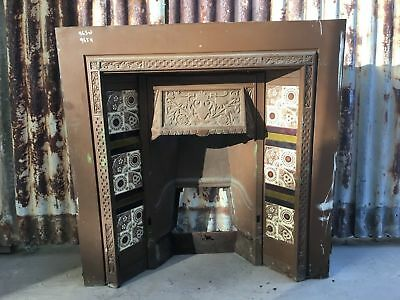 Cast Iron Fire Place With Decorative Tiles 965w X 965h
