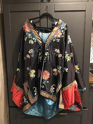 Antique Chinese Embroidered Robe Kimono Silk Embroidery Oriental Asian Qing