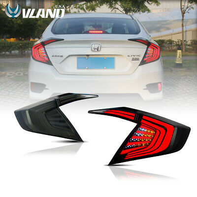 LED 4PCS Tail Lights For Honda Civic 10th Gen 2016 2017 Rear Lamps Smoked Black
