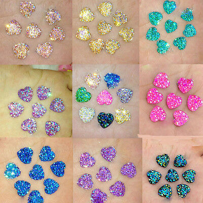 20X Heart Flat Back Resin Glitter Rhinestones Scrapbooking Wedding Craft Making