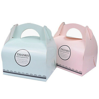 10pcs Cupcake Cakes Boxes Party Gifts Supplies With Handle Removable Pink Blue