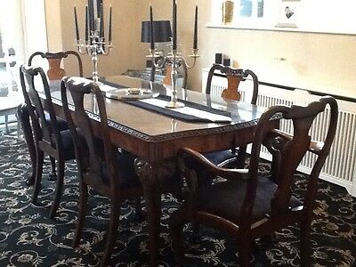 Antique Queen Anne Style Walnut Dining Table & 6 Chairs black covered seats