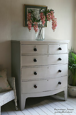 Antique Farmhouse Victorian Bow Front Chest Of Drawers Painted in Farrow & Ball