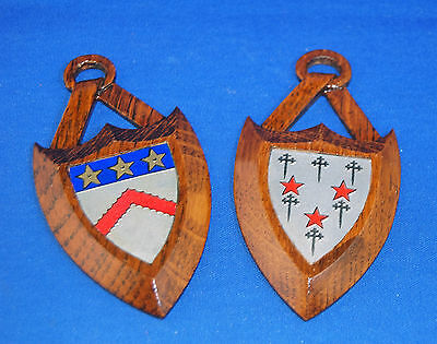 A very attractive pair of small antique Victorian gothic oak shields, heraldic