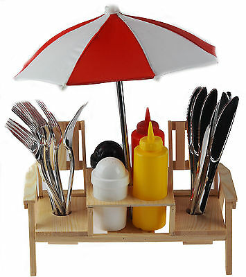 Summer BBQ - Large Picnic Table Bench Fun Condiments Set With Cutlery