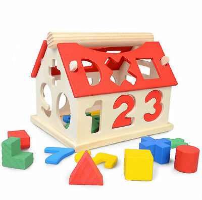 Toys Building Baby Developmental Kids Intellectual Educational Wood Blocks House