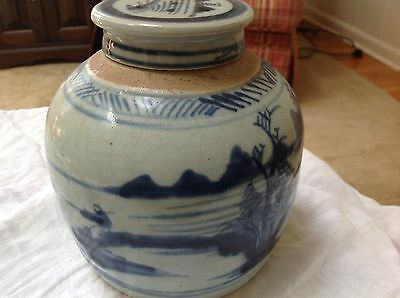"Antique Chinese Blue & White Canton Earthenware 6"" Ginger Jar 2 lid fishing"