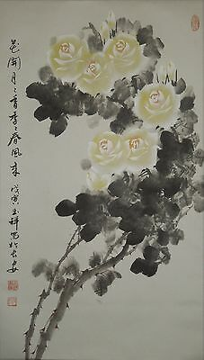 Hanging Scroll Chinese Painting rose sumi asian art China Antique Picture  e85
