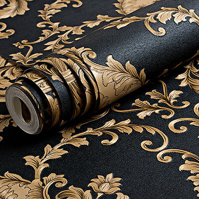 Luxury Metallic Gold Texture Vinyl Damask Wallpaper Black 10M Roll