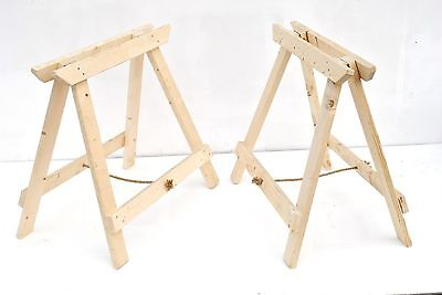 2X Rustic Wooden Folding Trestles Max Load 200Kg Each (1 Pair) Uk Seller Uk Made