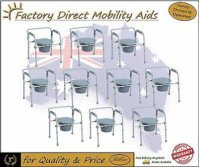 10 x Steel Frame Folding Commode s/ Toilet Raiser Top Quality Mobility Aids