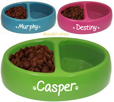 PERSONALISED DOUBLE FEEDING Food Water Bowl Dish For DOG Puppy CAT Kitten Pets