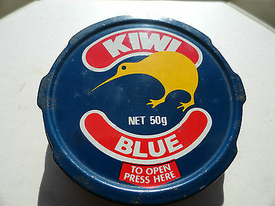 VINTAGE SHOE POLISH CAN WAX KIWI BLUE 50g NEVER USED ADVERTISING EXC COND 1960s