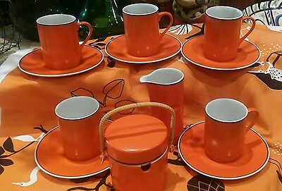 Retro Kelco Fine Porcelain 12 Piece Tea/coffee Set  Orange  Japan Vintage '60's