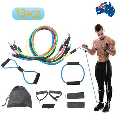 New Home Gym Fitness Exercise Workout Heavy Handles Yoga Tension Resistant Bands