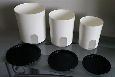 Tupperware  One Touch Windows Canister Set of 3 - BLACK & WHITE 🍄New🍄