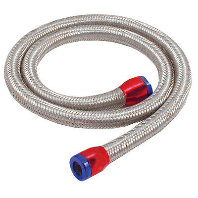 BRAIDED FUEL HOSE LINE 5/16 (8mm) 3FT LENGTH WITH RED/BLUE CLAMPS 29390