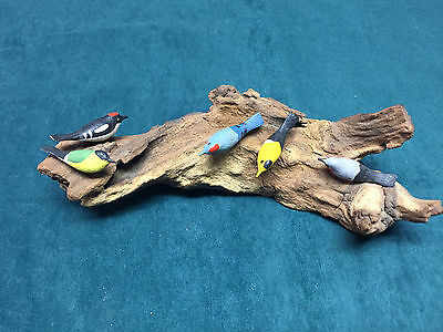 Vintage Hand Painted Wooden Birds on Drift Wood Five Birds Old Collectible