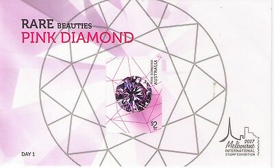 2017 Rare Beauties Pink Diamond Minisheet Melbourne International Stamp Show