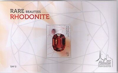 2017 Rare Beauties Rhodonite Stone Minisheet Melbourne International Stamp Show