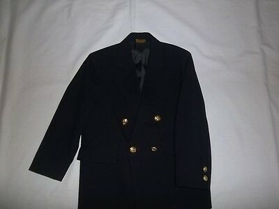 Boys TALBOTS KIDS Navy 100% Wool BLAZER JACKET Size 7 R Regular Dress Suit Coat