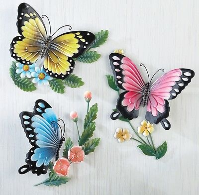 Set of 3 Colorful Butterfly Spring Flowers Metal Wall Art Hangings Home Decor