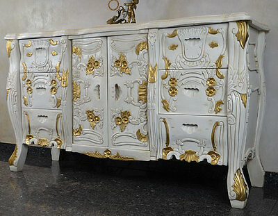 Mahogany Sideboard Antique Cabinet Buffet Baroque Vintage Carved Wood White Gold