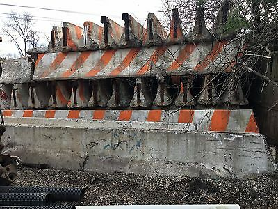 """Concrete Jersey Road Barrier - 20' Long x 24"""" Wide x 32"""" High - SAFETY STRIPED"""