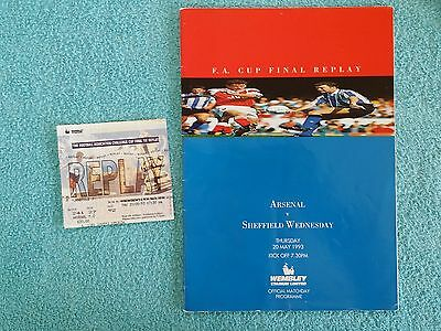 1993 - FA CUP FINAL REPLAY PROGRAMME + MATCH TICKET - ARSENAL v SHEFFIELD WEDS