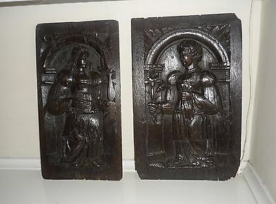 An Exquisite Pair Of Early 16th Century French Oak Panels c1500