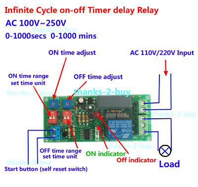 AC110V 220V Cycle Delay Timing Timer Relay Switch Turn ON/OFF Module 0~1000 mins