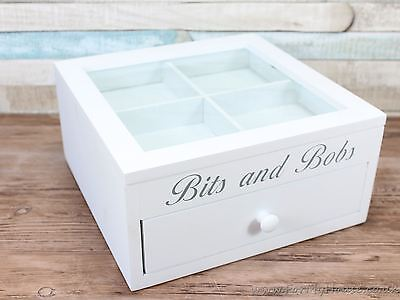 Bits and bobs White 4 compartment & drawer jewellery box trinket storage