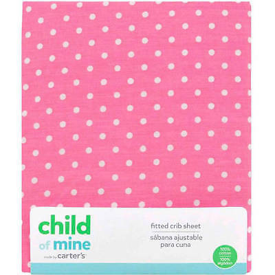 Carter's Child of Mine Fitted Crib Sheet Girls Pink with White Dots Shower Gift