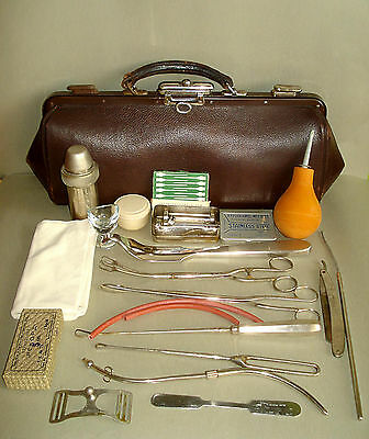 Rare Antique Old Doctor's Leather Bag w Medical Equipment &  Instuments inside