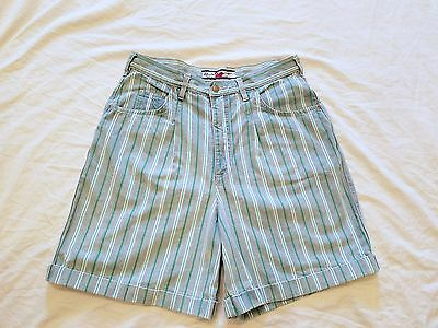 Vintage 80s Gloria Vanderbilt Striped High Waist Denim Shorts Sz 14