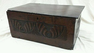 Early 17th Century Carved Boarded Oak Box c1630