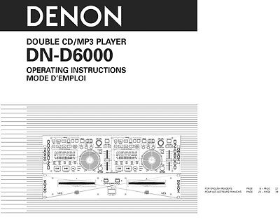 Denon dn-d6000 cd player owners instruction manual | ebay.