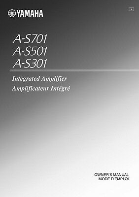 Yamaha A-S301 A-S501 A-S701 Amplifier Owners Manual