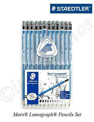 New Staedtler Mars Lumograph 100 Pencils Art Set 12pcs Writing Drawing Sketching