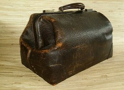 Rugged Vintage Doctors Bag Satchel Genuine Cowhide Leather Elephant Brown Luggag