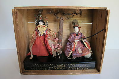 Antique Japanese Meiji Era Ningyo Gofun Empress Emperor Hina Dolls Original Box