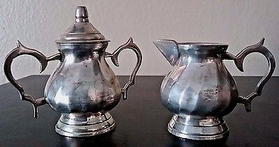 Vtg. Mini Electro Plated Nickel Silver Creamer & Sugar Bowl in Satin Lined Case!