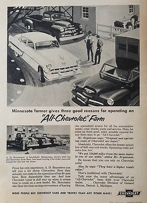 Vintage Ad 1954(Xx59)~Chevrolet Line Of Cars And Trucks For The Farm -
