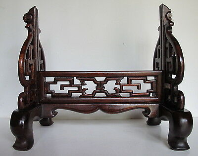 Antique Chinese Carved Wood Table Screen Stand for Porcelain Tile