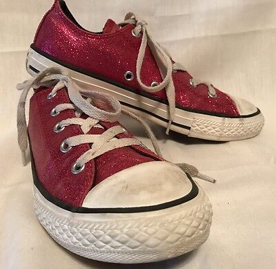 Girl's Converse All Star Shoes, Hot Pink Glitter Low-Tops, Youth Size 3 sneakers