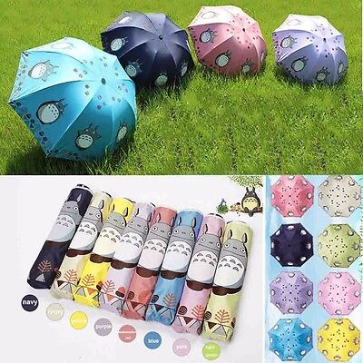Anti UV Sun Rain Umbrella Totoro Manual Open Parasol Windproof Folding #JP