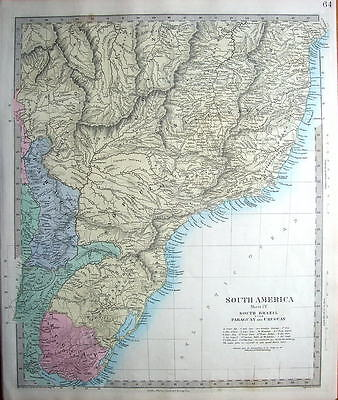 SOUTH AMERICA,BRAZIL, PARAGUAY, URUGUAY SDUK  Hand Coloured Antique Map 1857