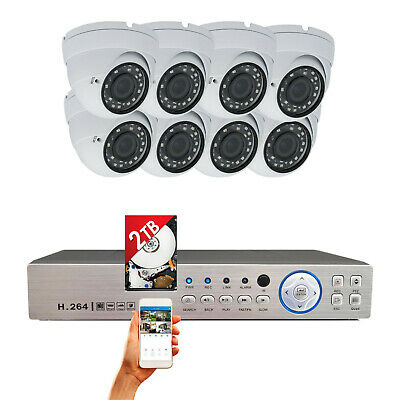 8 Channel DVR and 8x 1080P HD Night Vision Home CCTV Security Camera Set w/ 2TB
