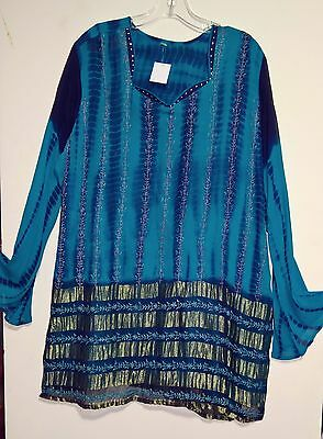 Women's   BLUE & Chartreuse Tunic ~w embroidery & rhinestones L to XL Sheer